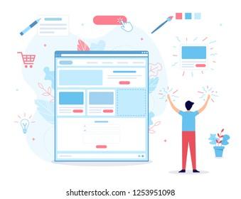 A man creates his own website. It's magic. Website builder concept. Web development. Flat vector illustration.