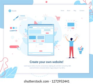 A man creates his own website. Website builder concept. Vector illustration template for landing page. Flat design.