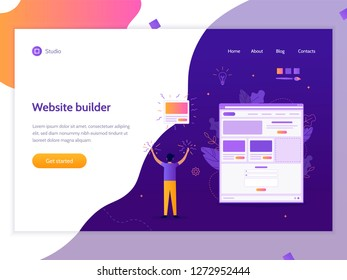 A man creates his own website. Website builder concept. Vector illustration template for web site. Flat design.