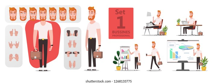 Man creation pose stylized character set or DIY kit for animation. Collection of flat cartoon character body parts, face expressions, trendy hipster clothes. Front side, 3/4 view. Isolated - vector