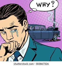 Man cries car accident. Car insurance road transport