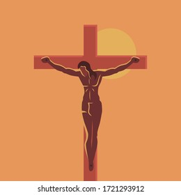 Man crucified on a cross on a sunset background.