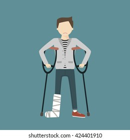 Man with crutches and a cast on a broken leg. Vector flat design illustration