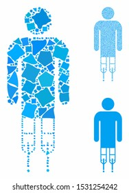 Man crutches composition of raggy items in different sizes and color hues, based on man crutches icon. Vector unequal items are organized into collage. Man crutches icons collage with dotted pattern.