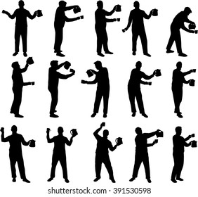 man with a cup and bicker vector silhouettes