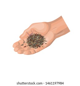 Man cupped hand holding seeds . Vector illustration isolated on white background