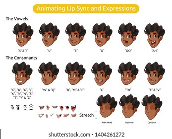Man with curly hair cartoon character design for animating lip sync and expressions, vector illustration.