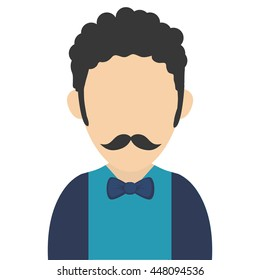 man with curly hair and mustache avatar icon
