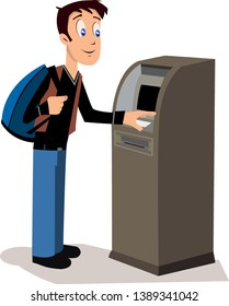 Man customer standing near atm machine. - vector