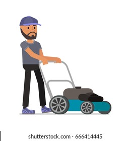 A man is cutting a lawn. Vector illustration. Flat design. Isolated on a white background.