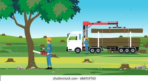 Man cutting tree using electric saw with tree truck