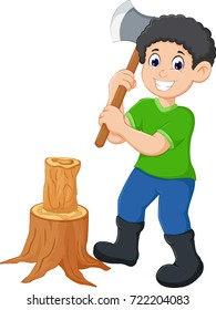 a man cutting trees use ax cartoon with smiling