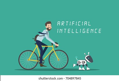 A man cycling with dog robot illustration design