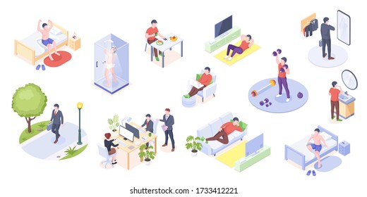 Man daily life, home routine, work and everyday activity, vector isometric icons. Man daily life at home and work office, morning wake up, gym exercises, eating breakfast, reading and relaxing on sofa