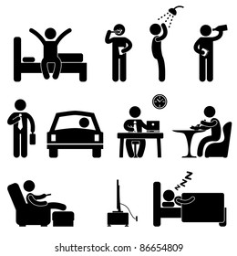 Man Daily Routine People Icon Sign Symbol Pictogram