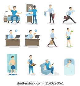 Man daily routine. Waking up, having breakfast, taking shower, going to the work and other activities. Busy man lifestyle. Isolated vector illustration in cartoon style
