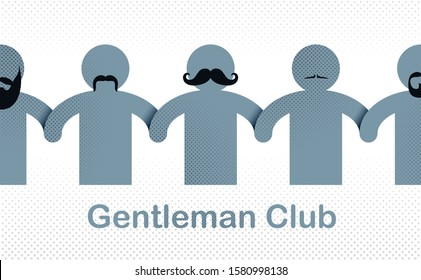 Man day international holiday, gentleman club, male solidarity concept vector illustration icon or greeting card.