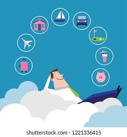 Man daydreaming about retirement in clouds