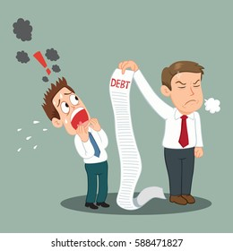 Man debtor shocked by creditors holding bills signs payment, vector illustration cartoon