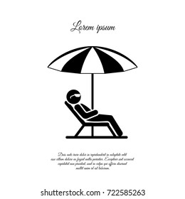 A man in a deckchair and umbrella. Relax icon