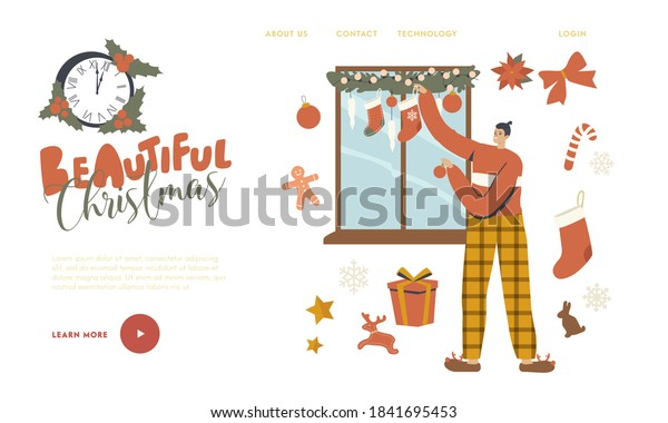 Man Decorating Window with Christmas Decor Landing Page Template. Character Preparing for New Year and Xmas Hanging Balls, Socks and Fir Tree Branches, Holidays Celebration. Linear Vector Illustration