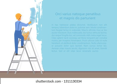 Man decorator painter with a paint roller painting a color wall. Upgrade and repair process concept. Website reconstruction vector illustration.
