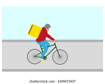 man with delivery bike on white background, vector