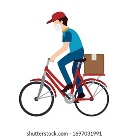 man delivery male worker using face mask in bike with box carton vector illustration design