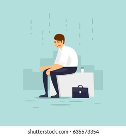 Man is depressed. Flat vector illustration in cartoon style.