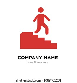 Man descending stairs company logo design template, Business corporate vector icon, man descending stairs symbol