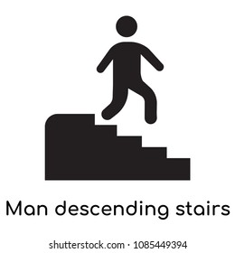 Man descending stairs icon isolated on white background for your web and mobile app design, man descending stairs vector logo concept