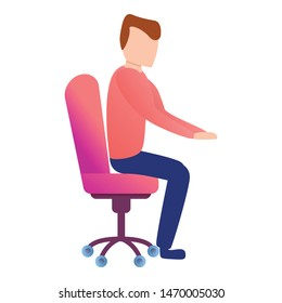 Man at desk chair icon. Cartoon of man at desk chair vector icon for web design isolated on white background