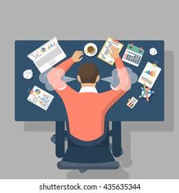 Man at desk, overwhelmed hard work. Stress. Fatigue at work. Vector illustration flat design.