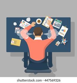 Man at desk, overwhelmed hard work. Stress at work. Fatigue at job. Vector illustration flat design.