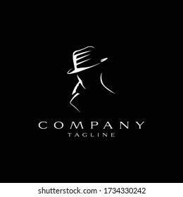 The man of detective logo design icon. The man of detective line art design. The man of detective icon design. The man of detective design inspiration