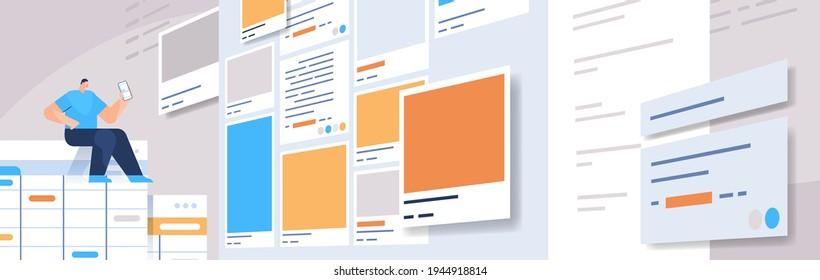 man developer creating mobile app ui interface web application development program software optimization