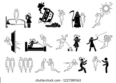 Man died and become a ghost. Icons set depict a spirit haunting people and house. The soul goes to hell or heaven after life. People are scared of the ghost.