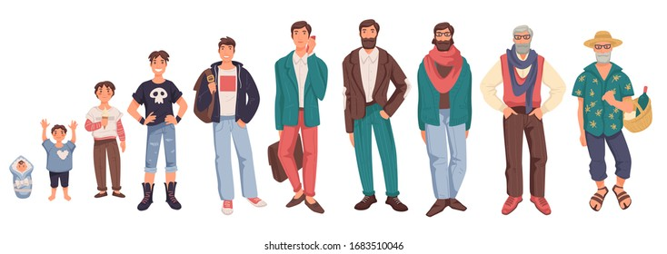 Man in different ages isolated characters vector. Baby and toddler, kid or child, teenager and young guy, adult and elderly person, life cycle. Generation of people and human stages of growing up