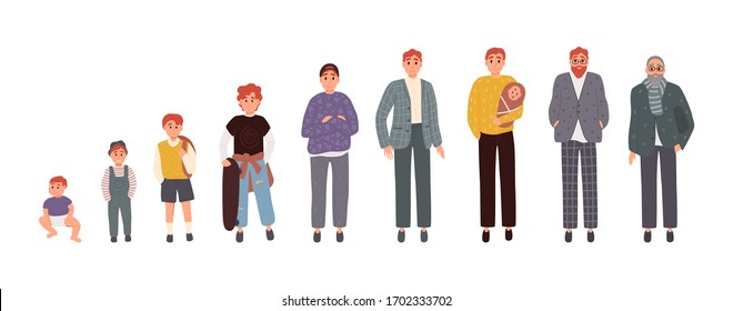 Man in different ages. Newborn boy teenager, adult man elderly person. Growth stages, people generation. Vector illustration in cartoon style