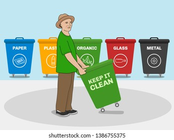 man with different color of garbage bin