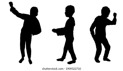 Man in different poses. Black vector illustration.