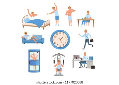 Man in different situations. Day time. Waking up, doing exercises, brushing teeth, eating, resting on sofa, running on work, taking shower, training at gym, working. Flat vector