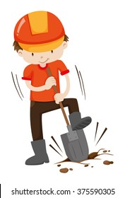 Man digging hole on the ground illustration