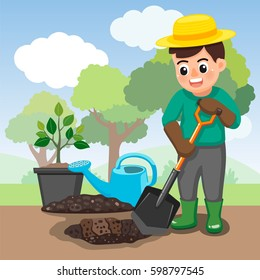 man digging hole for planting