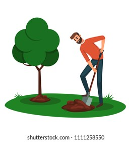 Man digging a hole for a tree. cartoon boy volunteer with a shovel digging the ground for planting trees. Eco Friendly Ecology concept with tree and man for arbor day