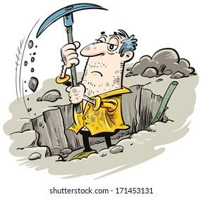 A man digs a hole col