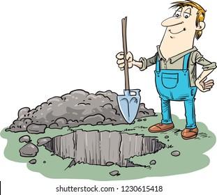 The man digs a shovel a hole