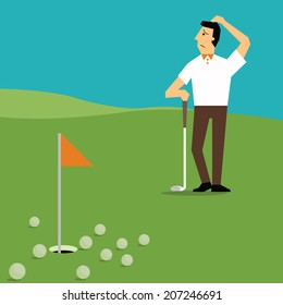 Man disappointed with missing many times in golf playing, metaphor to making mistake after giving effort several times in doing something.