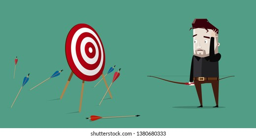 Man is distressed because not one arrow hits the target: goal not achieved
