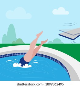 man dives into a pool from a diving board. vector illustration jump into the pool. Active sports holiday. person in the pool